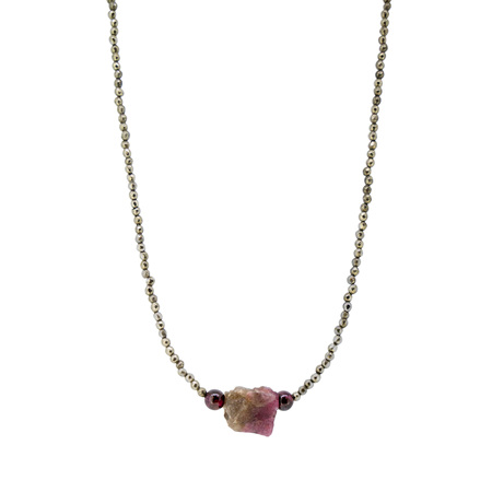 Raw Tourmaline Crystal, Garnet and Pyrite Bead Necklace