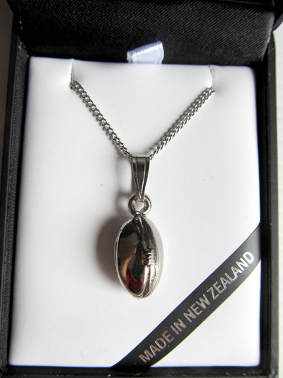 RB5050S Mana NZ Rugby Ball pendant on silver chain.