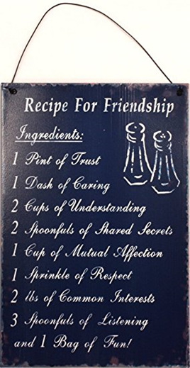 Recipe for friendship Tin Sign