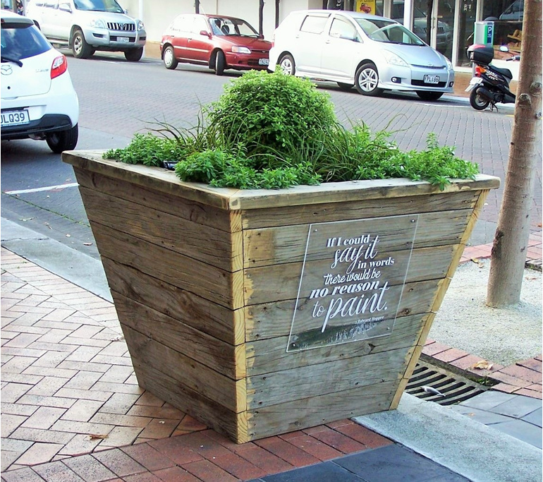 reclaimed timber planters and storyboard