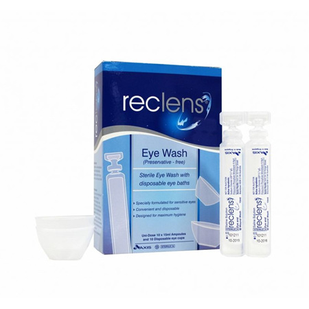 Reclens Eye Wash 10 x 15ml Ampoules and 10 Disposable Eye Baths