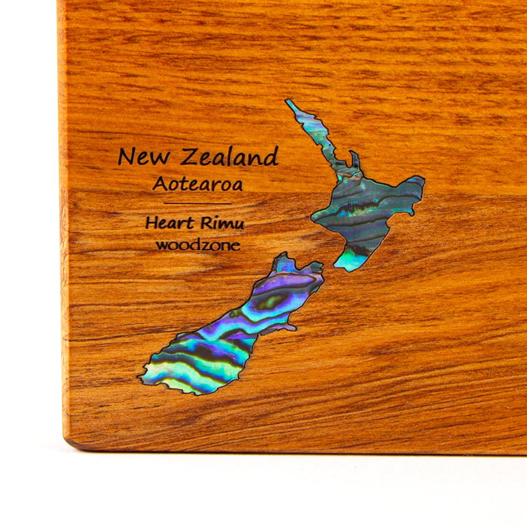 rectangle chopping board medium heart rimu - paua map