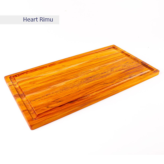 rectangle chopping board medium long with juice groove - heart rimu