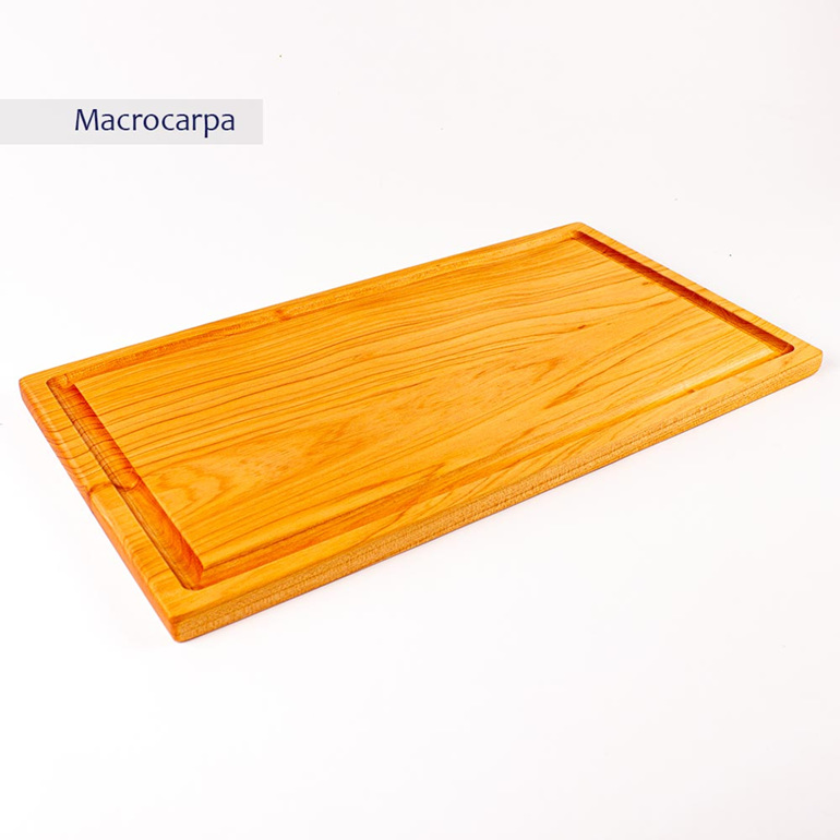 rectangle chopping board medium long with juice groove - macrocarpa