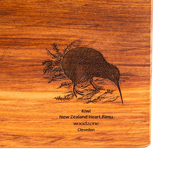 rectangle chopping board - rimu - engraved kiwi