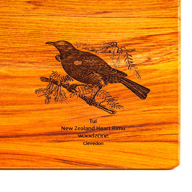 rectangle chopping board - rimu - engraved tui