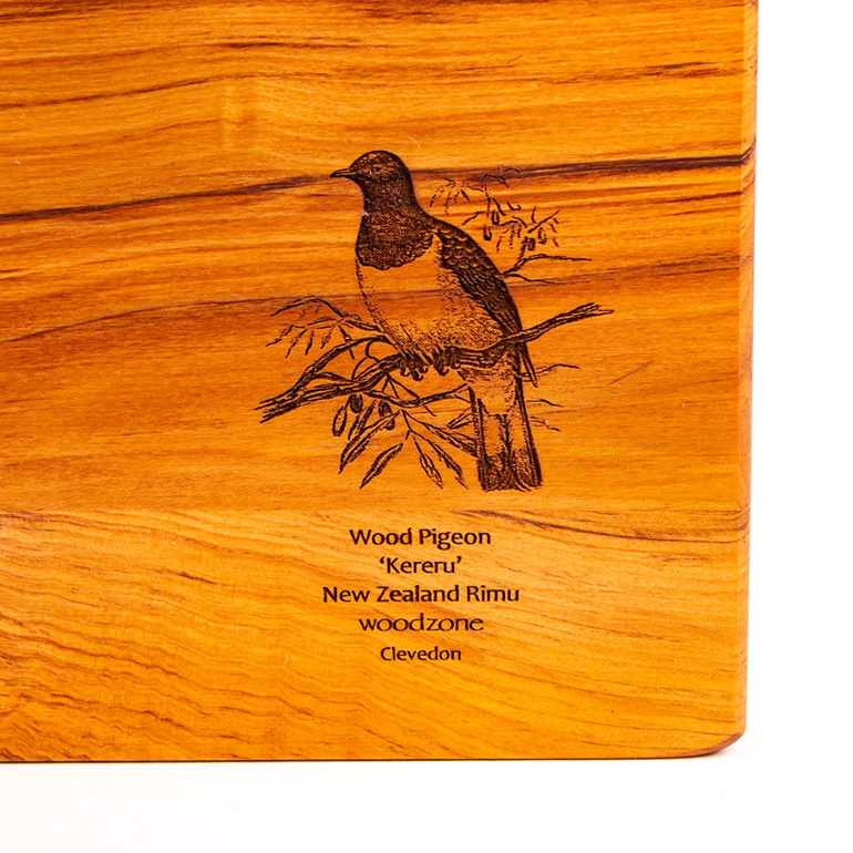 rectangle chopping board - rimu - engraved wood pigeon