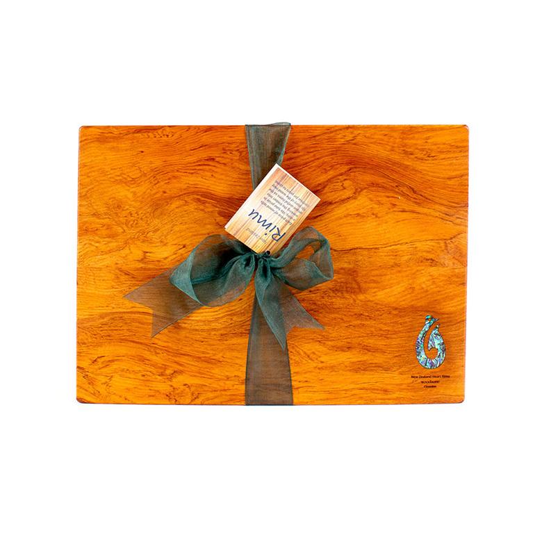 rectangle chopping board - rimu - paua hook