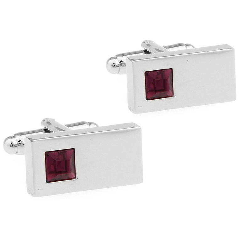 Rectangular Shaped Silver Coloured Cufflinks