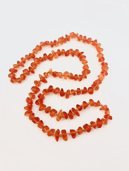 Recycled Glass Bead Necklace - Orange