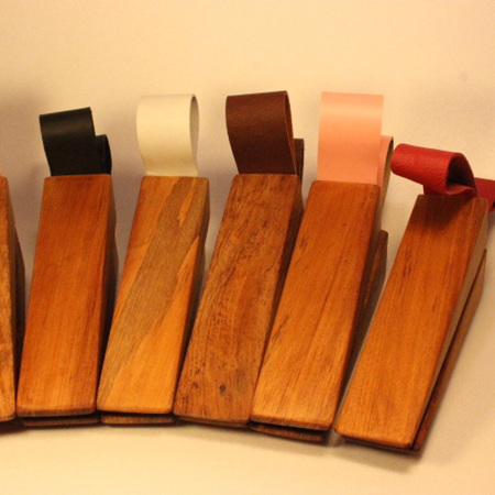 Recycled Rimu & Leather Door Stops