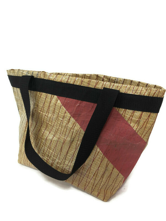 Recycled sailcloth bag especially made for supermarket shopping.