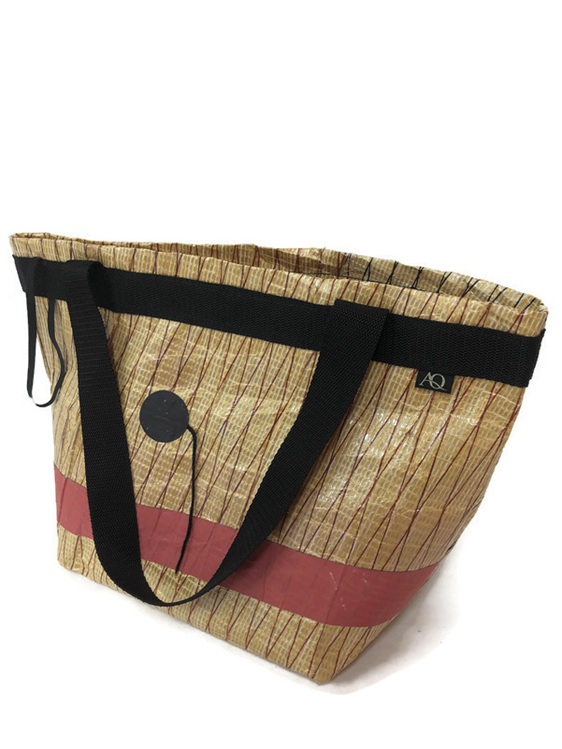 Recycled sailcloth bag for supermarket shopping.