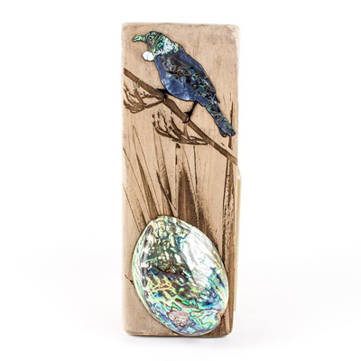 Recycled Wood Plaque Tui with Paua Shell