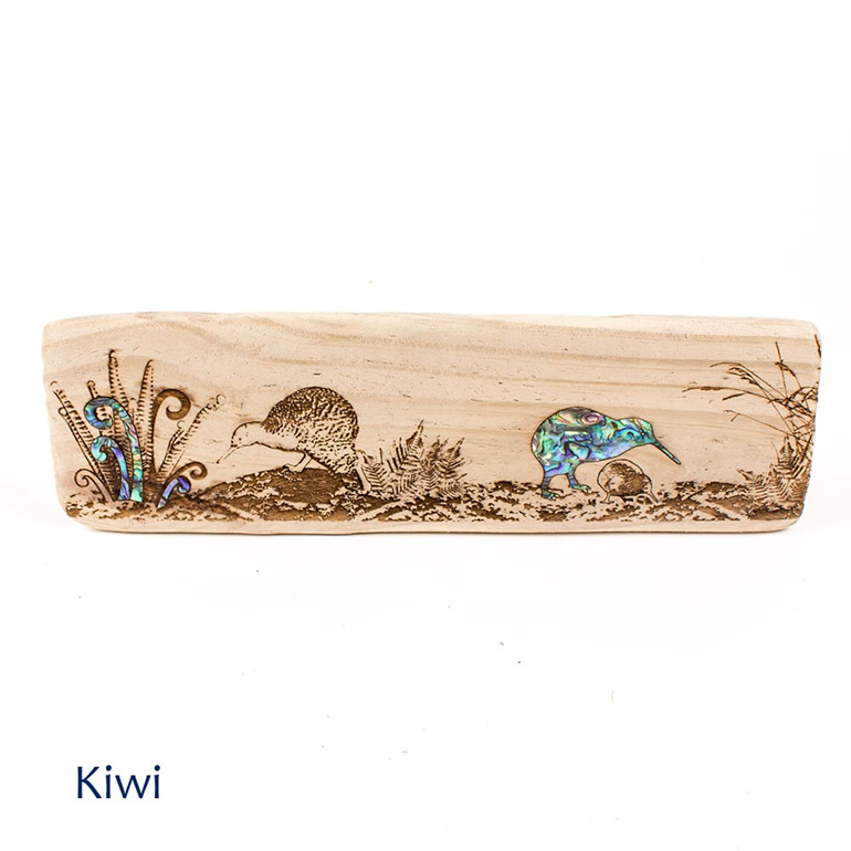 recycled wood wall plaque kiwi - nz made