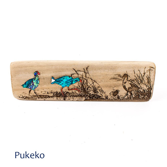 recycled wood wall plaque - pukeko - nz made