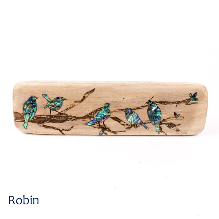 recycled wood wall plaque - robin - nz made