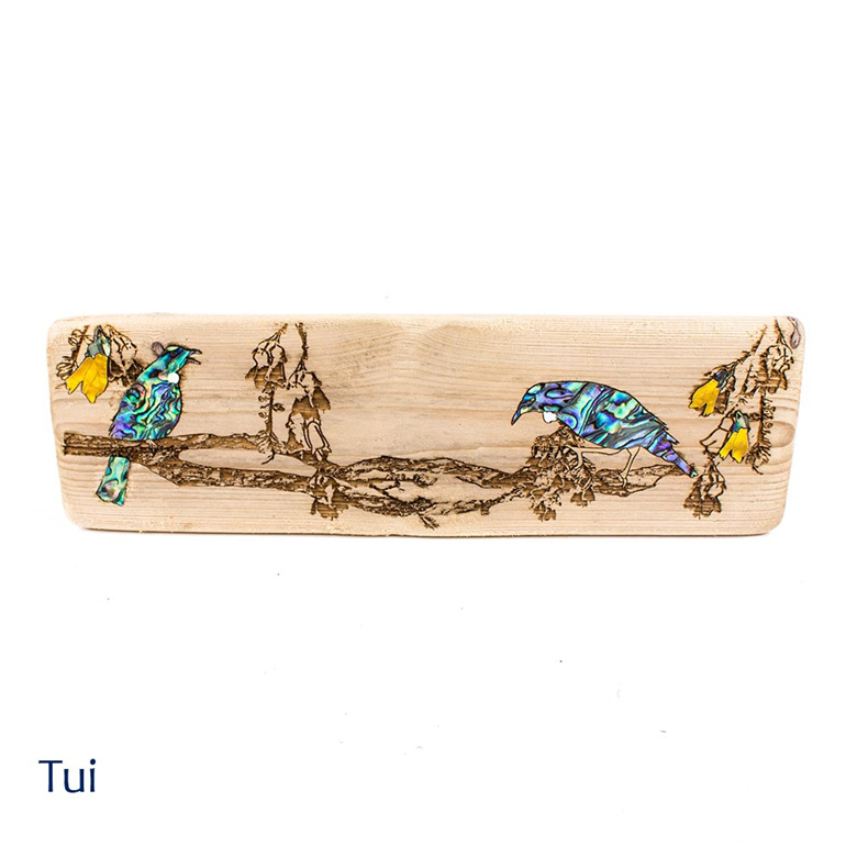 recycled wood wall plaque - tui - nz made