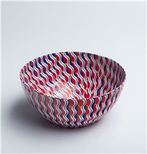 Red abstract Striped  - Papier Mache