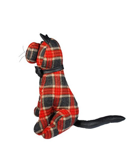 Red and Black Tartan Cat Door Stop