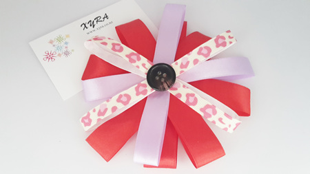 Red and Lavender Button Hair Bow