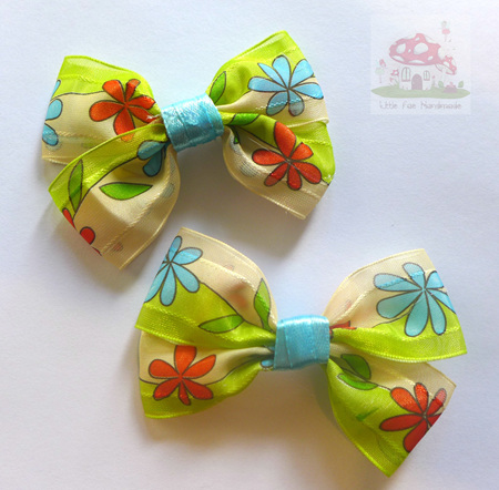 Red & blue daisy hairbow set