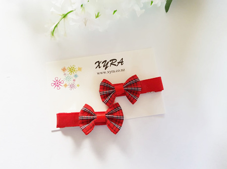 Red Bow Hair Clips