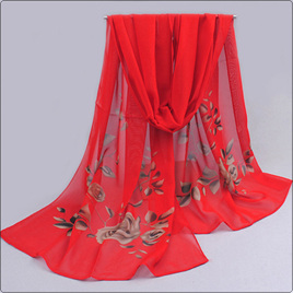 RED CHIFFON SCARF WITH ROSES