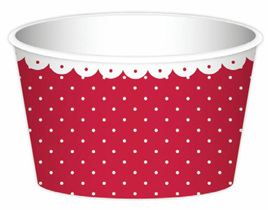 Red Dots Ice Cream Cups x 6 with Spoons