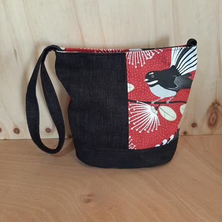 Red Fantail Black Bucket Bag