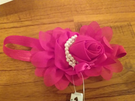Red Flower & Pearl Hair Band