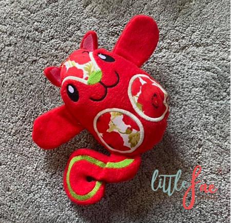 Red Flower Squirrel Soft Toy