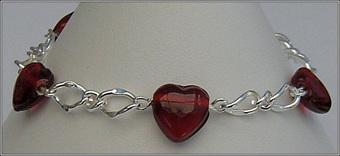 Red Glass Heart Bracelet