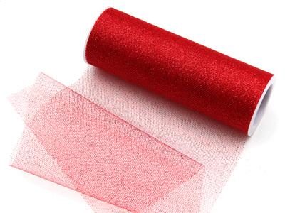 Red glitter tulle