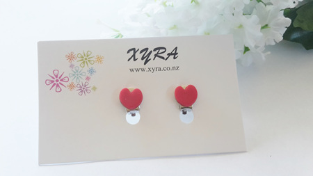 Red Heart Polymer Clay Clip-on Earrings