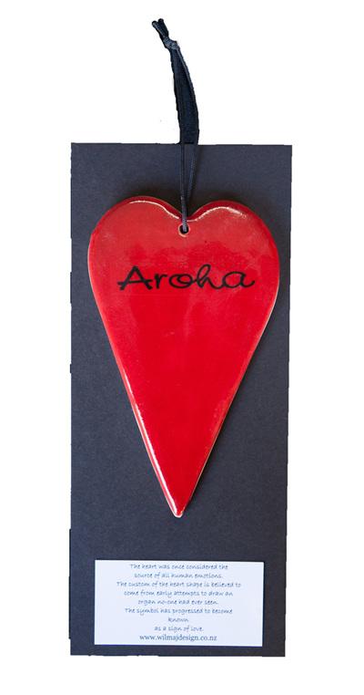 "Red heart with ""Aroha"""