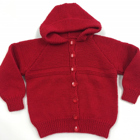 Red Knitted Merino Hooded Jacket - 1-2 years