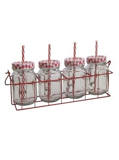 RED MASON JARS SET 4