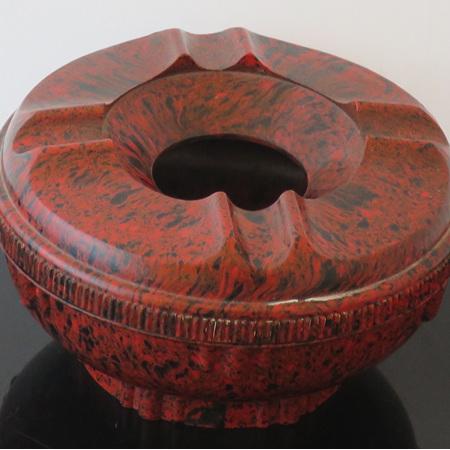 Red mottled bakelite ashtray