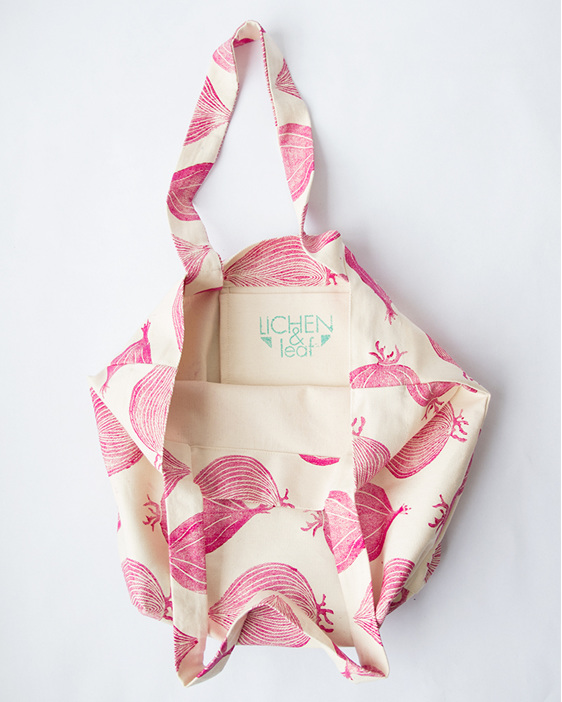 red onion print, hand printed, hand made, block printed, tote bag, cotton