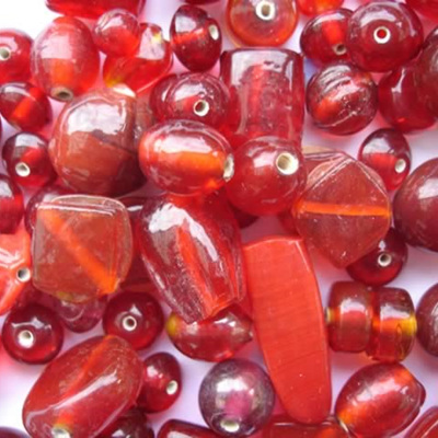 Red Plain Bead Mix