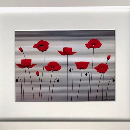 """Red Poppies in 8x10"""" Frame"""