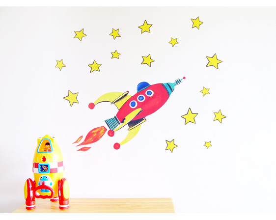 Red rocket wall decal