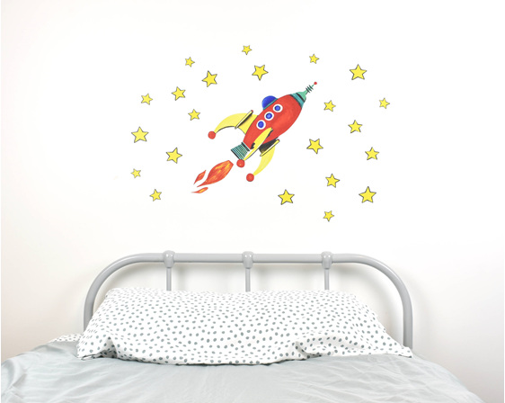 Red rocket wall decal medium with bed