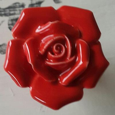 Red Rose Ceramic Knob