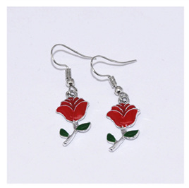 Red Rose Drop Earrings - Silver Plated