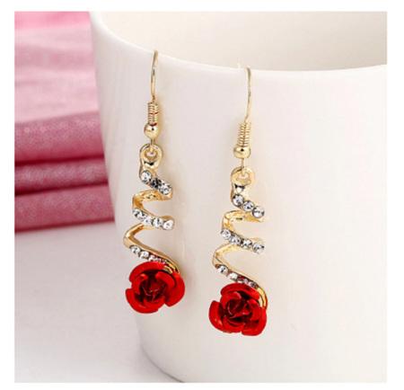 Red Rose & Rhinestone Drop Earrings