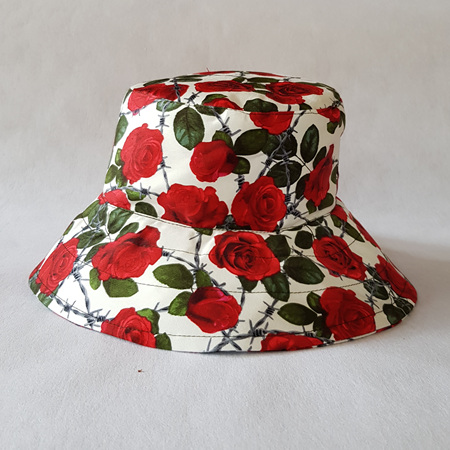 Red Roses Bucket Hat - adult size large