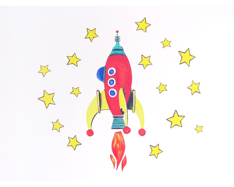 Red space rocket wall decal