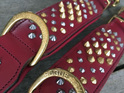Red Studded Leather Dog Collar for Large Dogs by Rogue Royalty